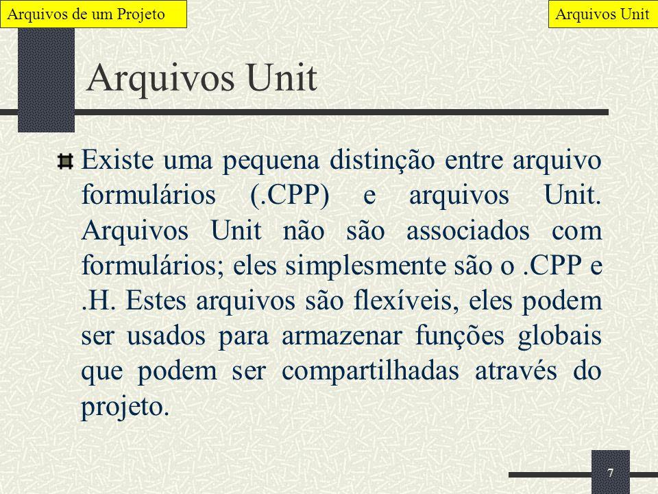 Arquivos de um Projeto Arquivos Unit. Arquivos Unit.