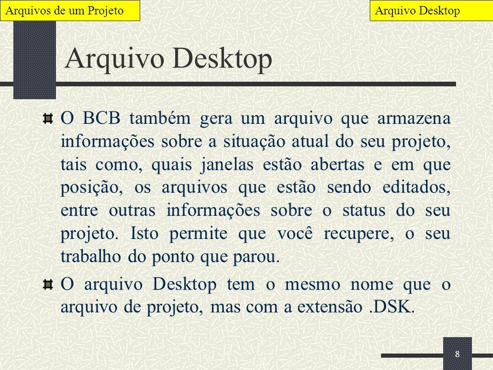 Arquivos de um Projeto Arquivo Desktop. Arquivo Desktop.