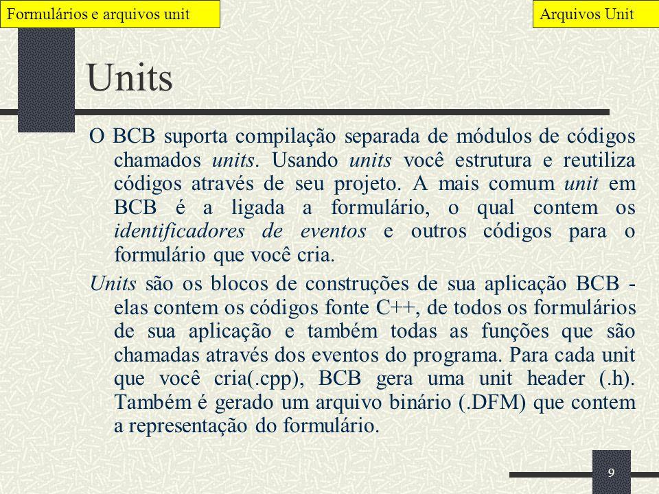 Formulários e arquivos unit