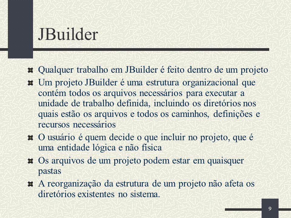 JBuilder Qualquer trabalho em JBuilder é feito dentro de um projeto