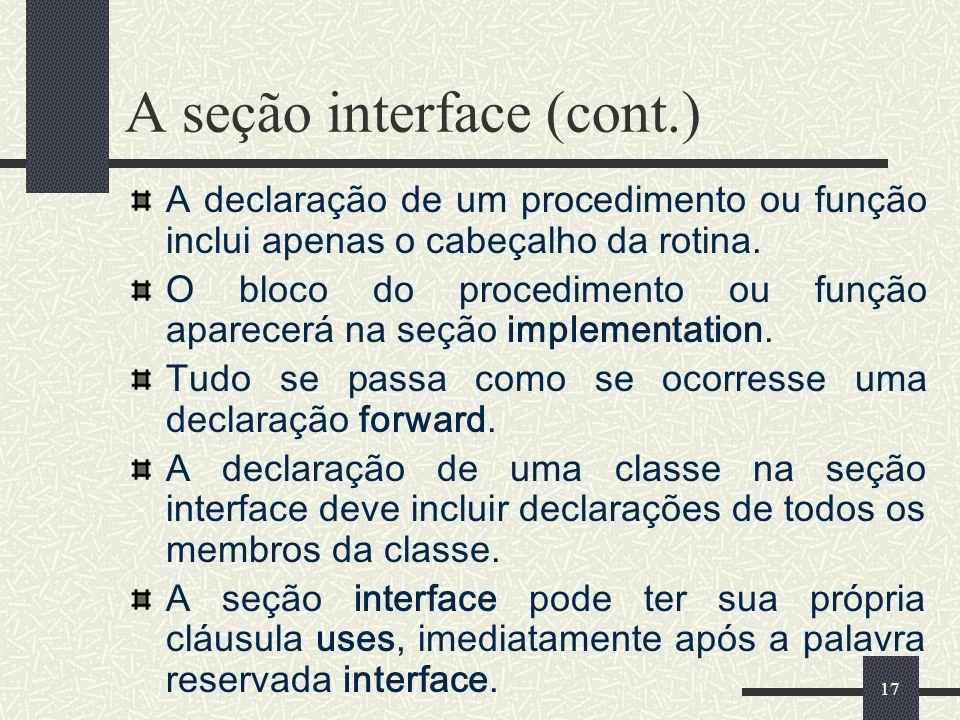 A seção interface (cont.)