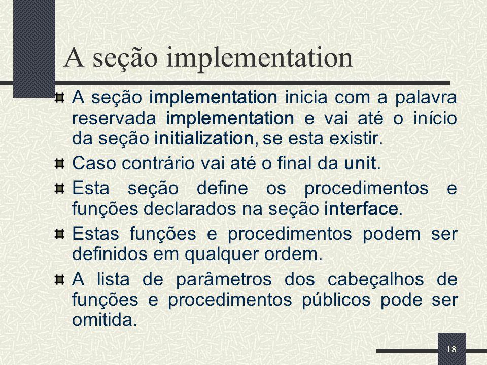 A seção implementation