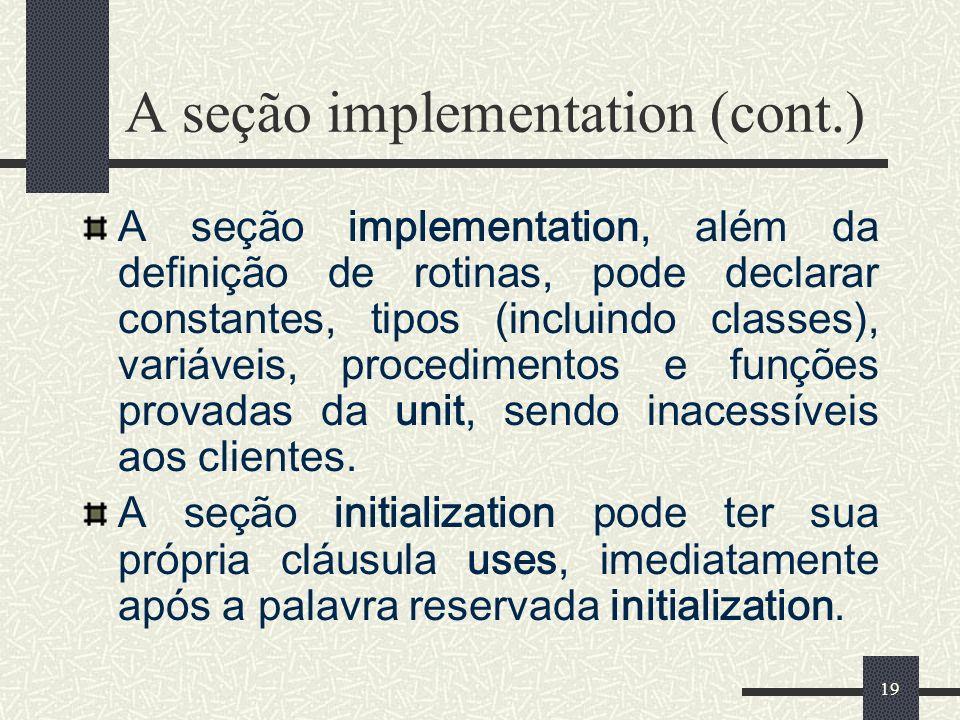 A seção implementation (cont.)