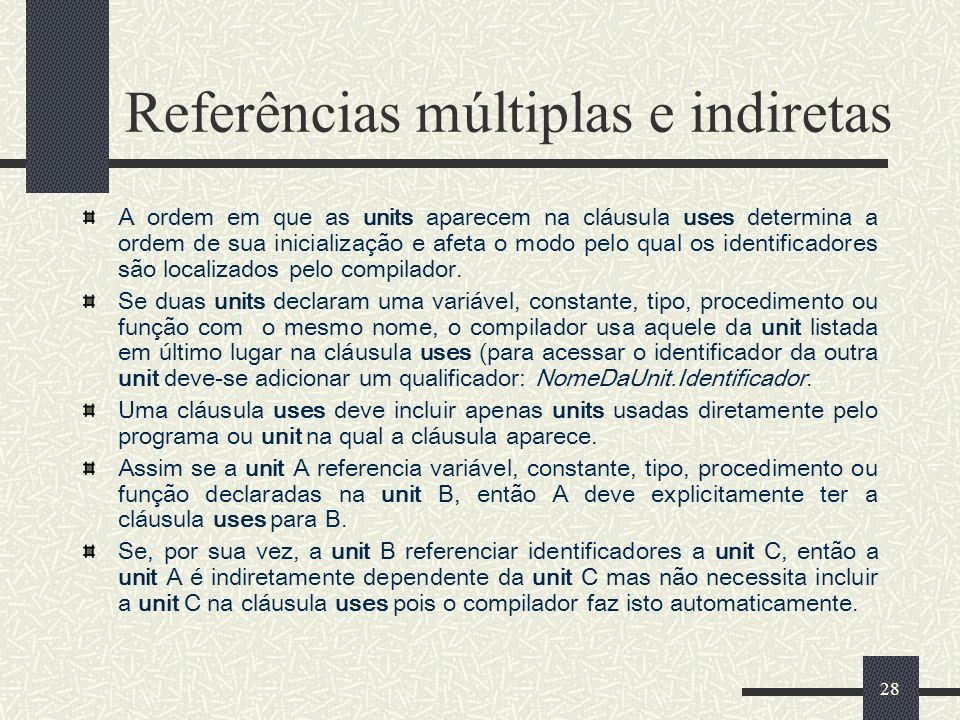 Referências múltiplas e indiretas