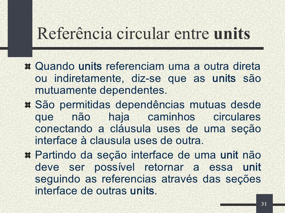 Referência circular entre units