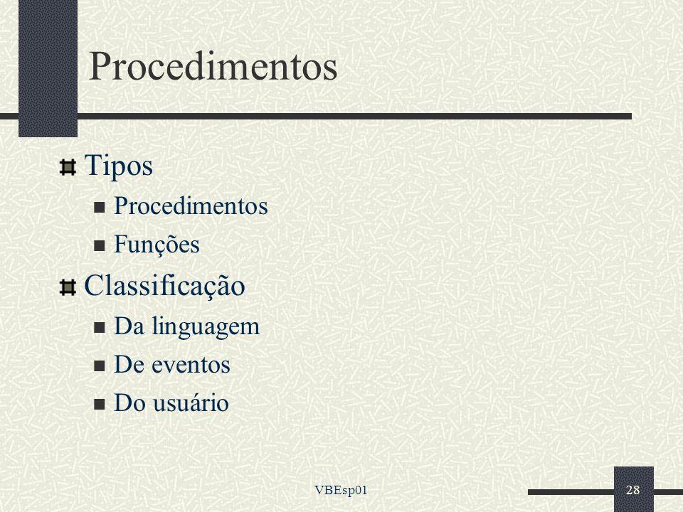 Procedimentos Tipos Classificação Procedimentos Funções Da linguagem