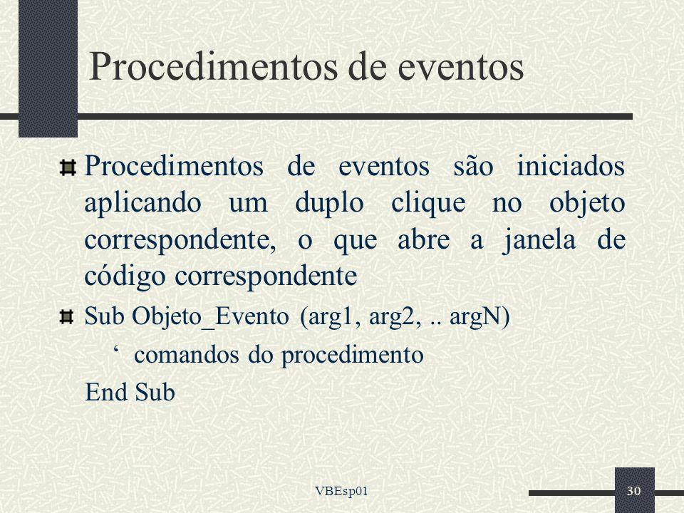 Procedimentos de eventos