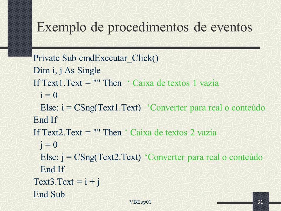 Exemplo de procedimentos de eventos
