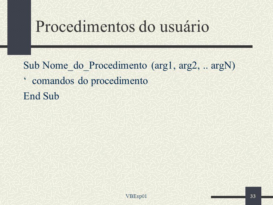 Procedimentos do usuário