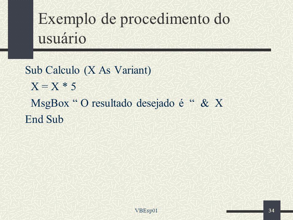 Exemplo de procedimento do usuário