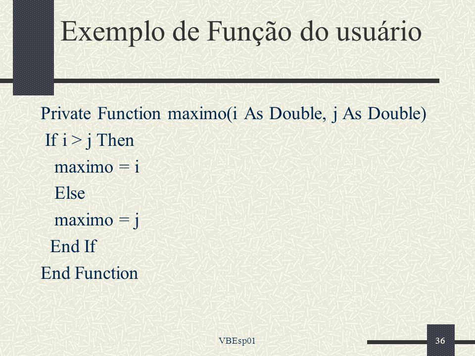 Exemplo de Função do usuário
