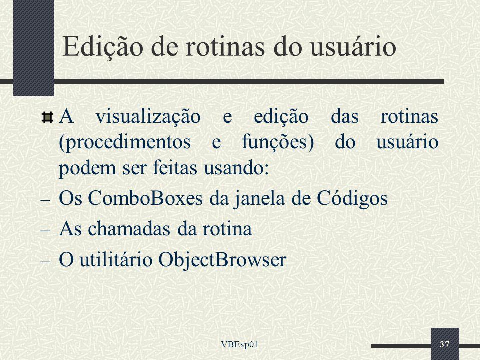Edição de rotinas do usuário
