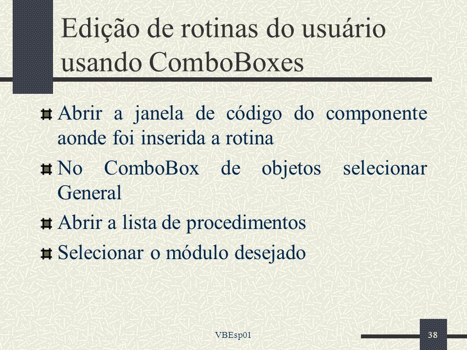 Edição de rotinas do usuário usando ComboBoxes