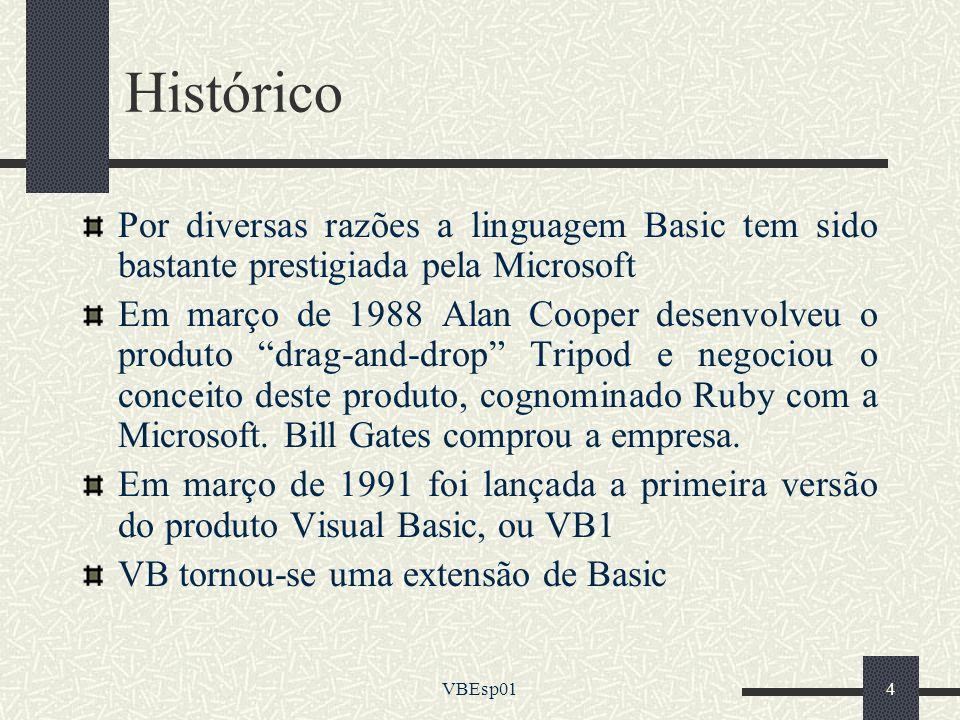 Histórico Por diversas razões a linguagem Basic tem sido bastante prestigiada pela Microsoft.