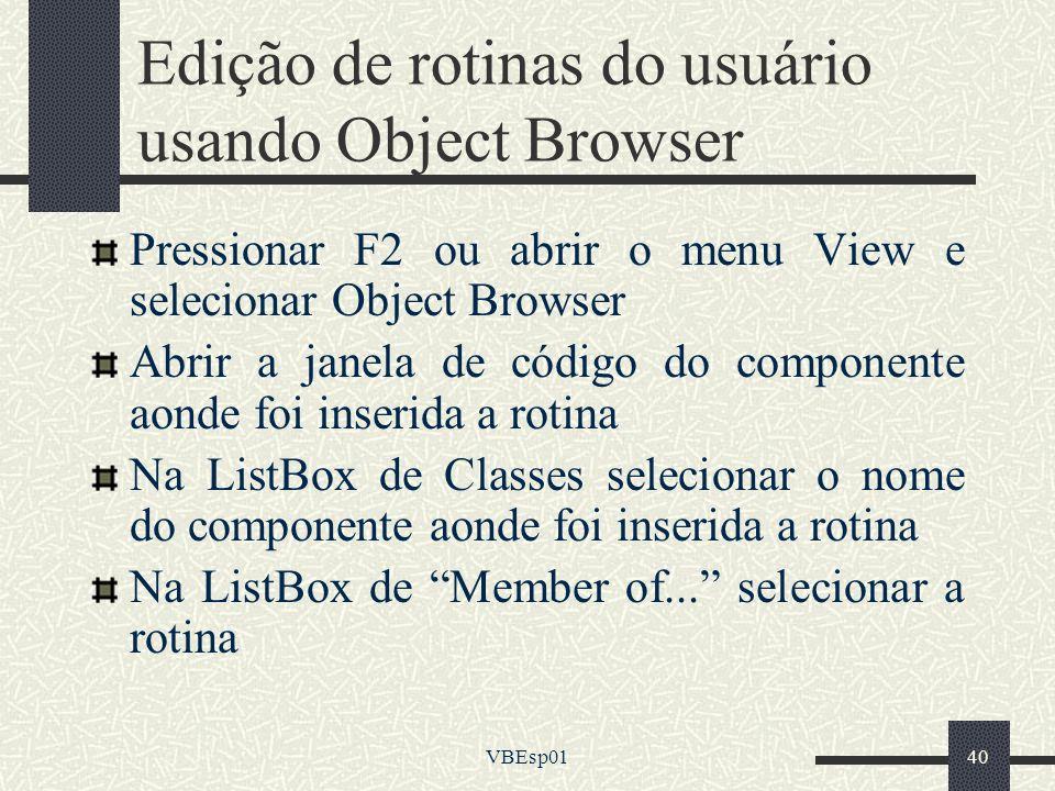 Edição de rotinas do usuário usando Object Browser