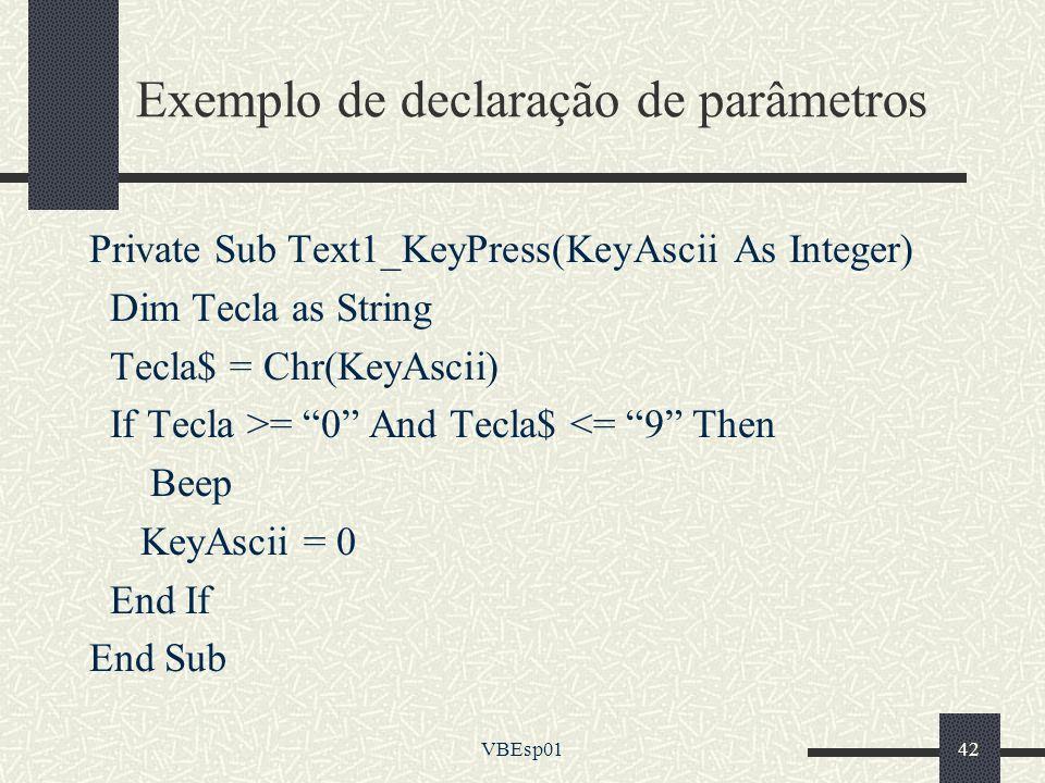 Exemplo de declaração de parâmetros