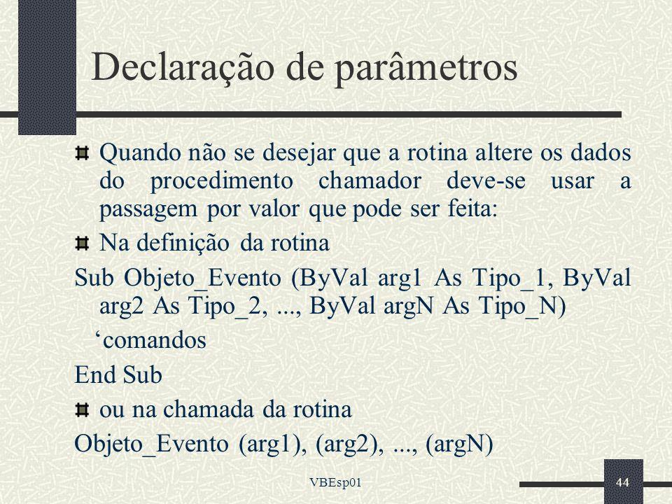 Declaração de parâmetros