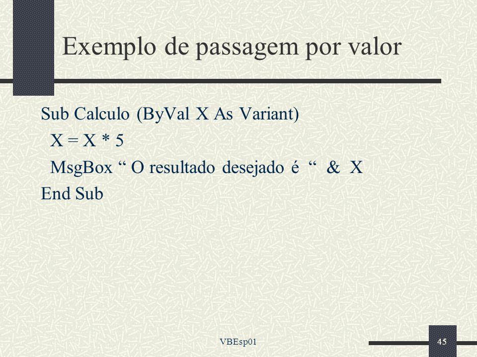 Exemplo de passagem por valor
