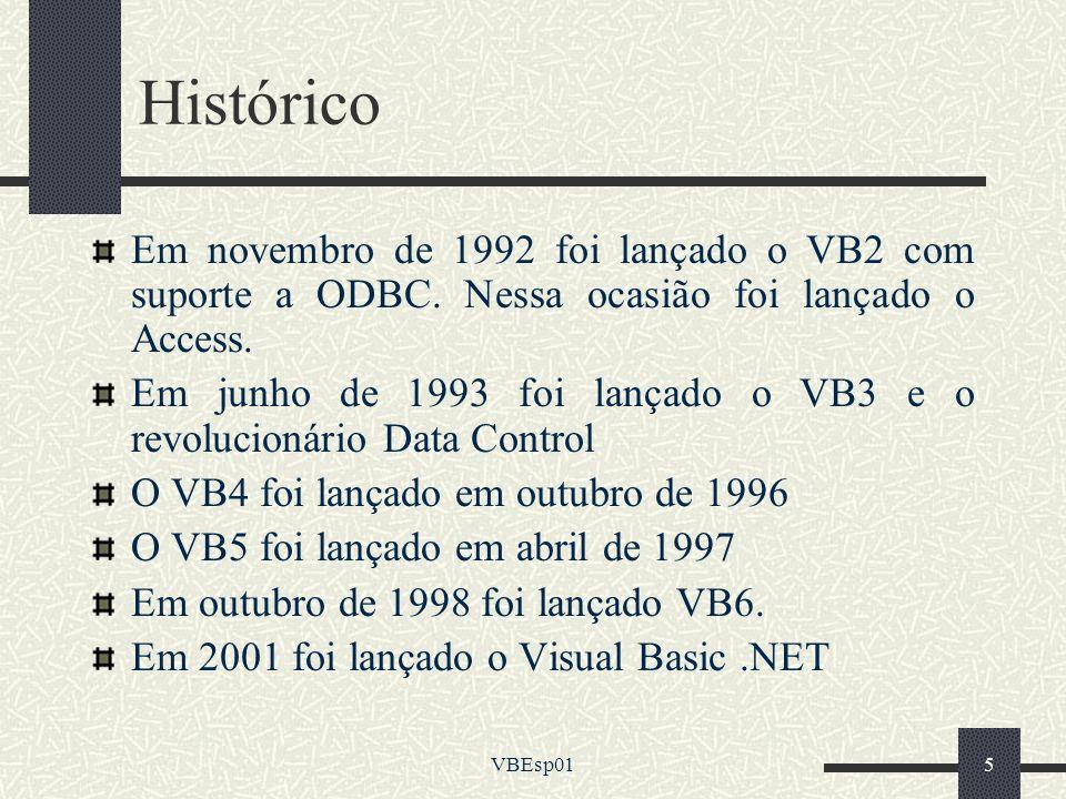 Histórico Em novembro de 1992 foi lançado o VB2 com suporte a ODBC. Nessa ocasião foi lançado o Access.