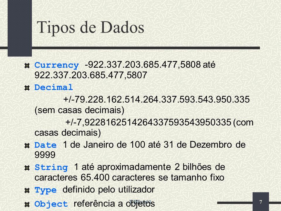 Tipos de Dados Currency -922.337.203.685.477,5808 até 922.337.203.685.477,5807. Decimal.