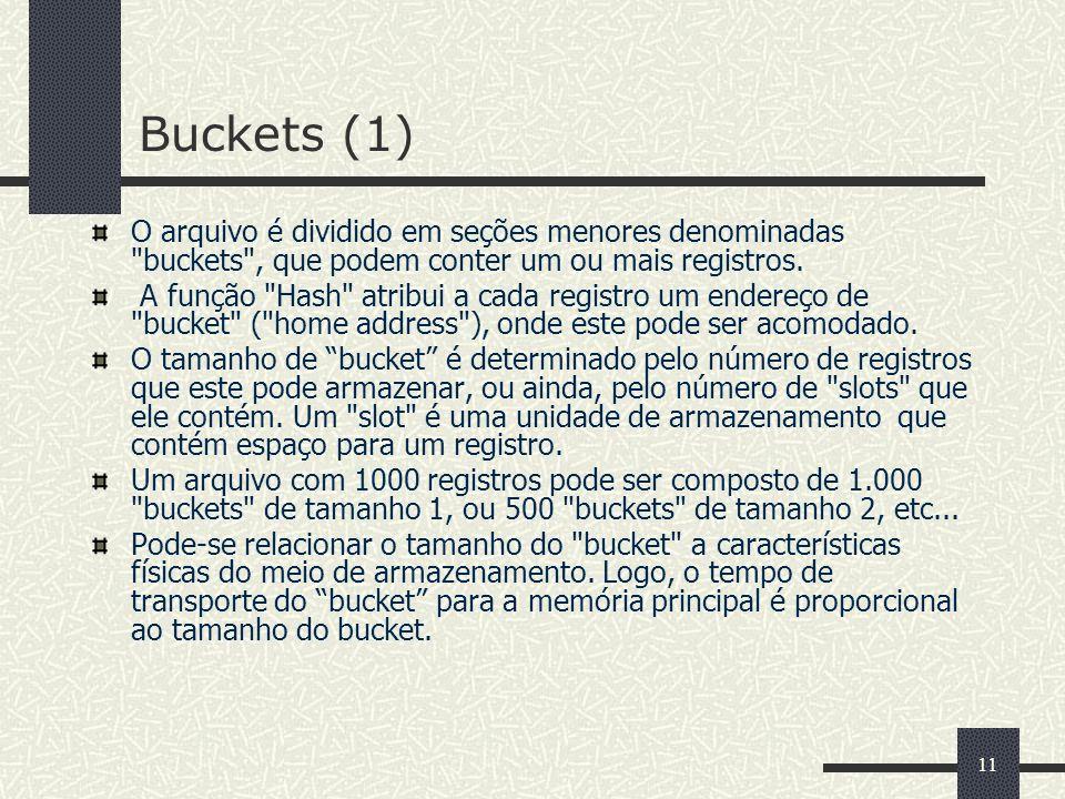 Buckets (1)O arquivo é dividido em seções menores denominadas buckets , que podem conter um ou mais registros.