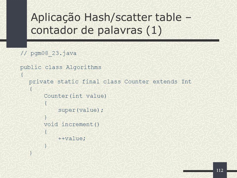 Aplicação Hash/scatter table –contador de palavras (1)