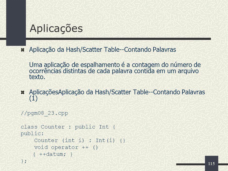 Aplicações Aplicação da Hash/Scatter Table--Contando Palavras