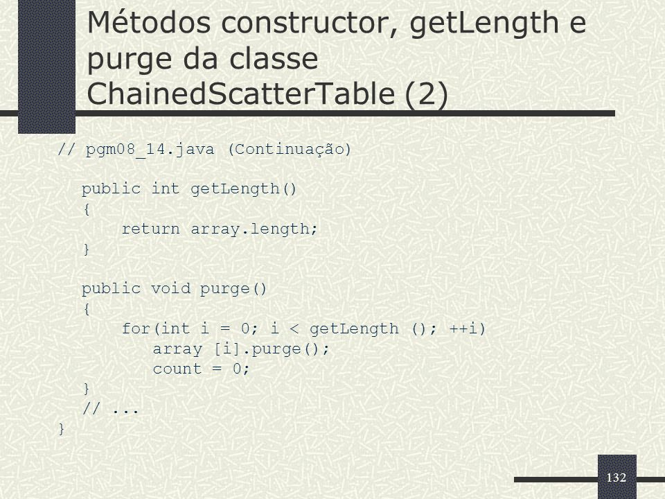 Métodos constructor, getLength e purge da classe ChainedScatterTable (2)