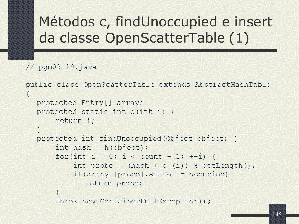 Métodos c, findUnoccupied e insert da classe OpenScatterTable (1)