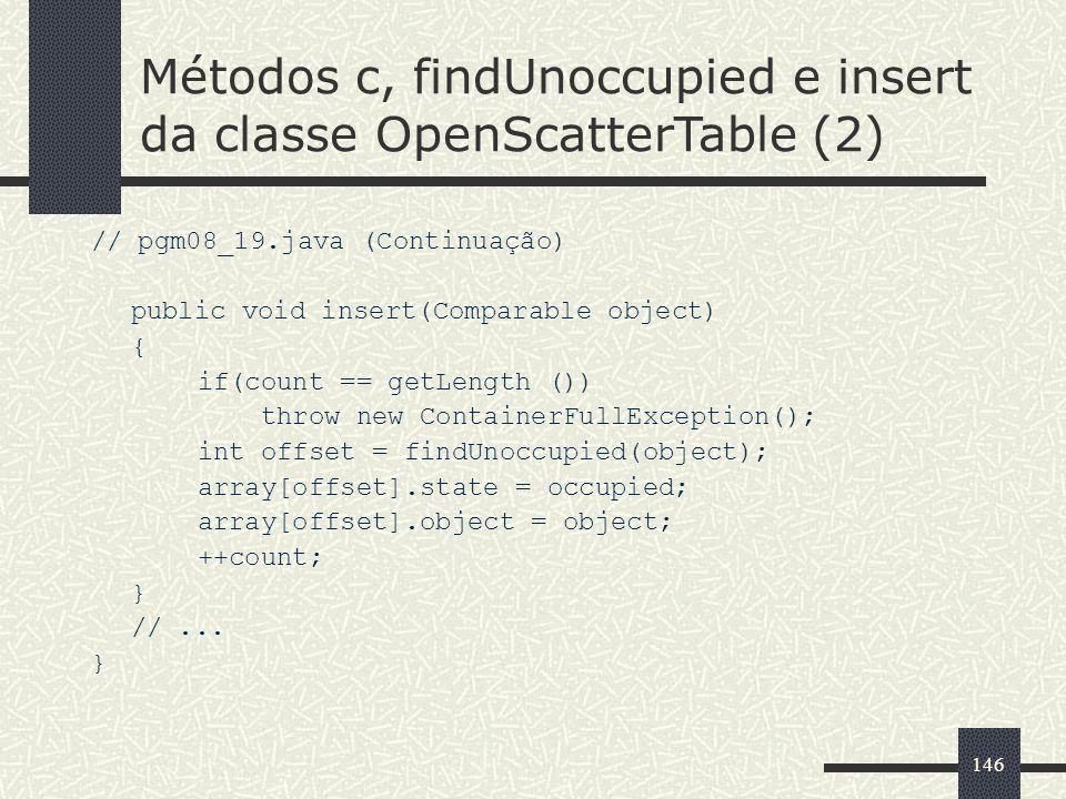 Métodos c, findUnoccupied e insert da classe OpenScatterTable (2)