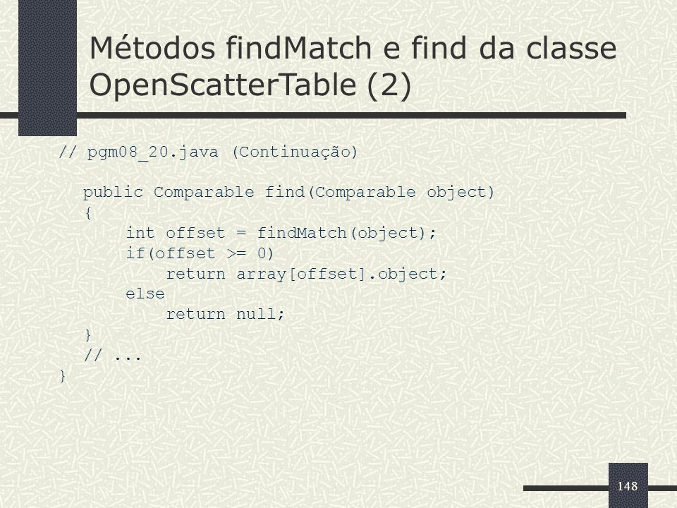 Métodos findMatch e find da classe OpenScatterTable (2)