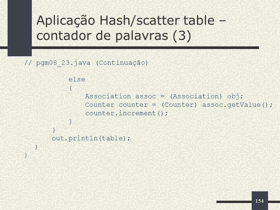 Aplicação Hash/scatter table –contador de palavras (3)