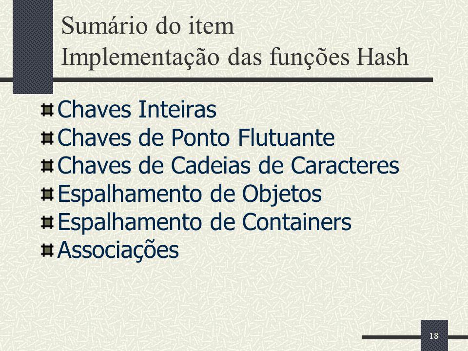 Sumário do item Implementação das funções Hash