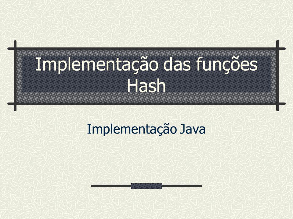 Implementação das funções Hash
