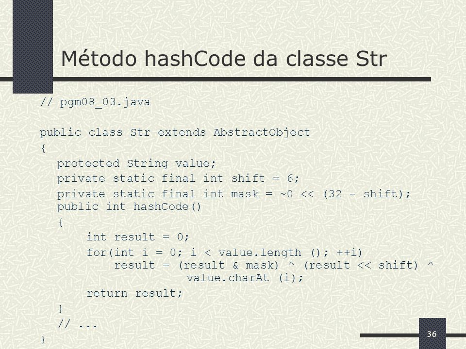 Método hashCode da classe Str