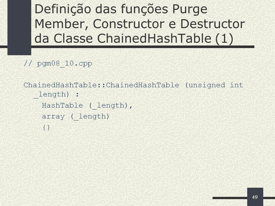 Definição das funções Purge Member, Constructor e Destructor da Classe ChainedHashTable (1)