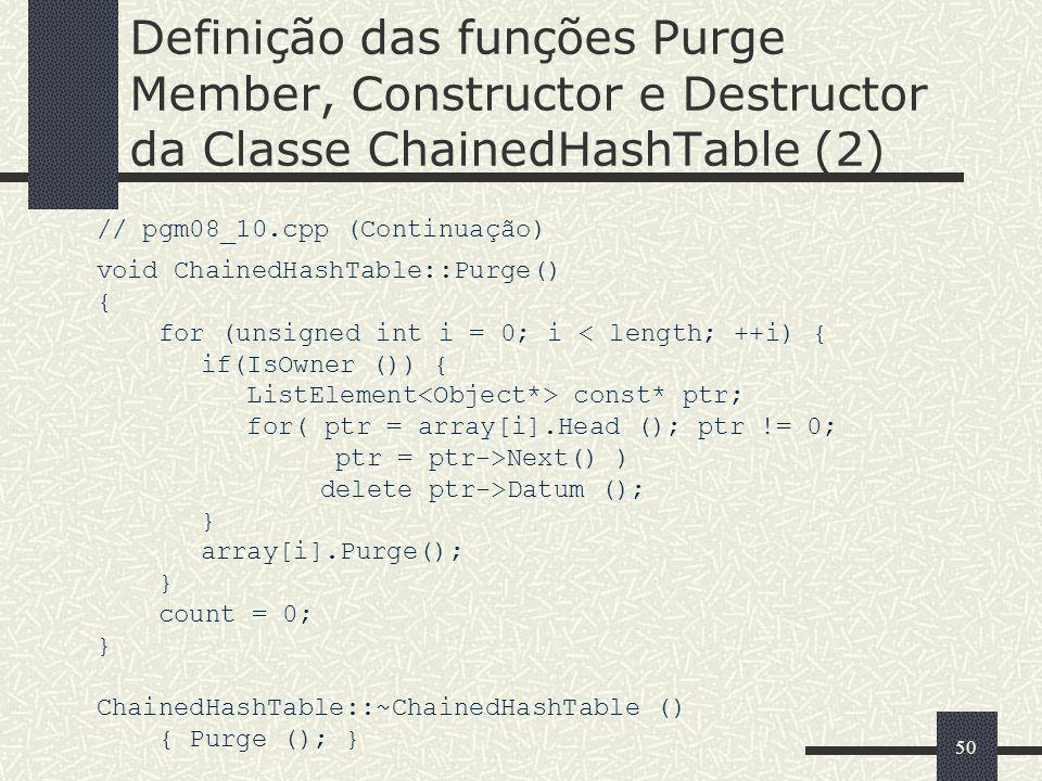 Definição das funções Purge Member, Constructor e Destructor da Classe ChainedHashTable (2)