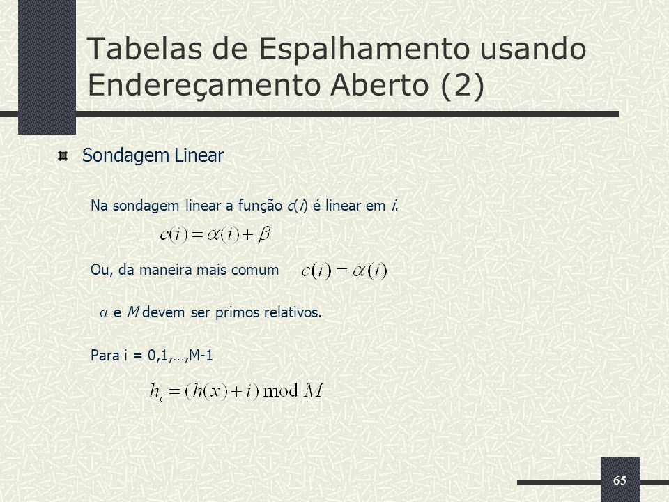 Tabelas de Espalhamento usando Endereçamento Aberto (2)