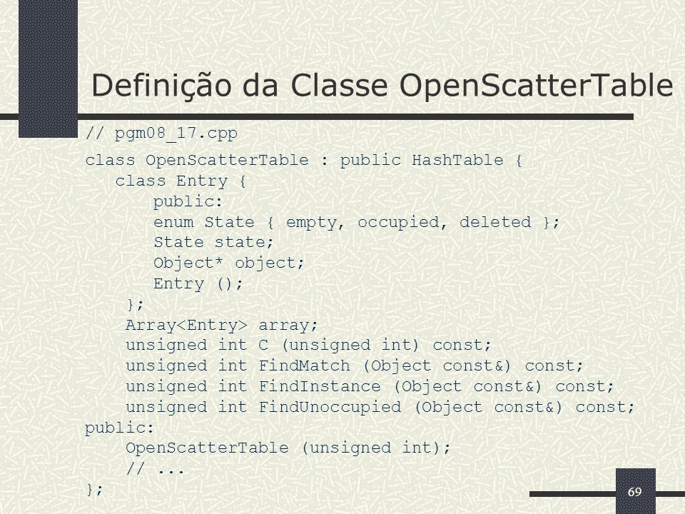 Definição da Classe OpenScatterTable