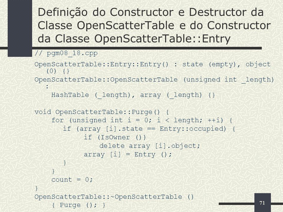 Definição do Constructor e Destructor da Classe OpenScatterTable e do Constructor da Classe OpenScatterTable::Entry