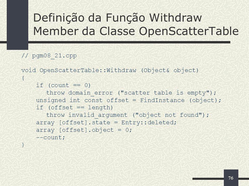 Definição da Função Withdraw Member da Classe OpenScatterTable