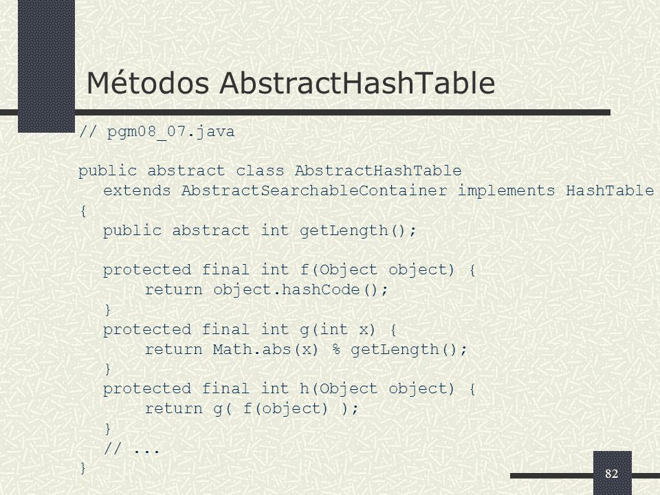 Métodos AbstractHashTable