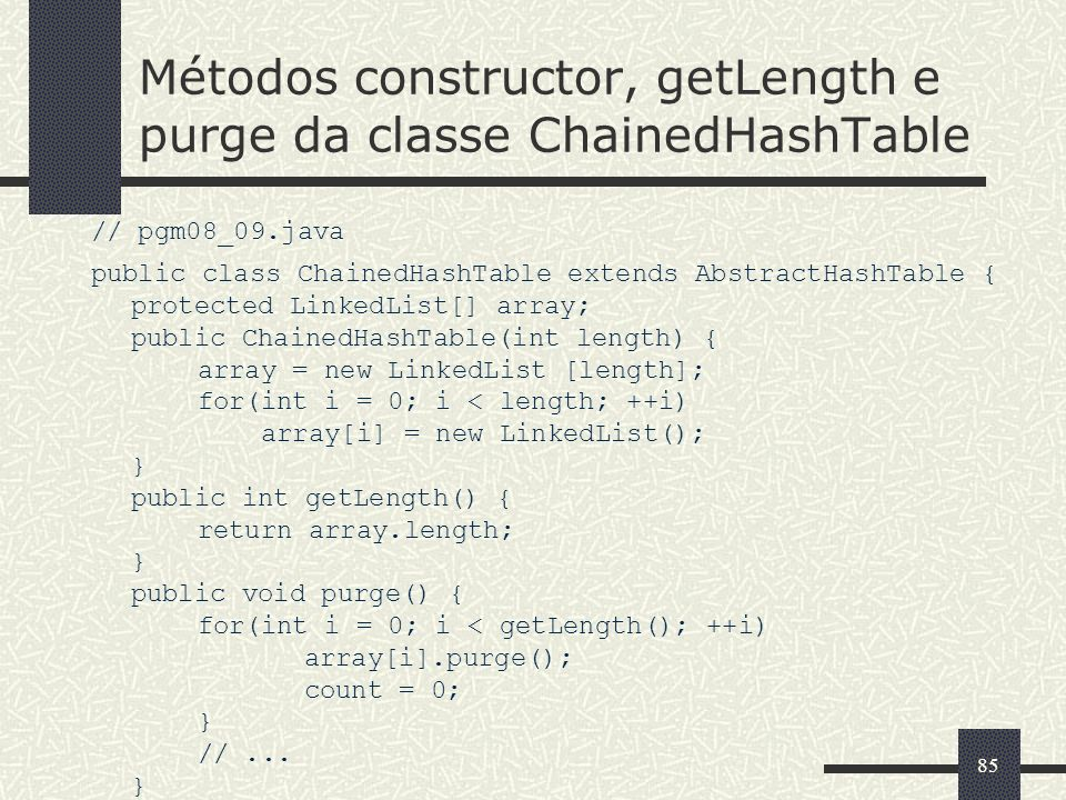 Métodos constructor, getLength e purge da classe ChainedHashTable