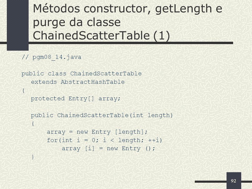 Métodos constructor, getLength e purge da classe ChainedScatterTable (1)