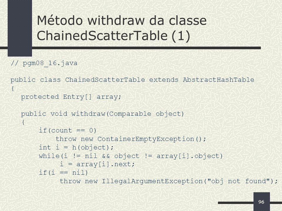 Método withdraw da classe ChainedScatterTable (1)