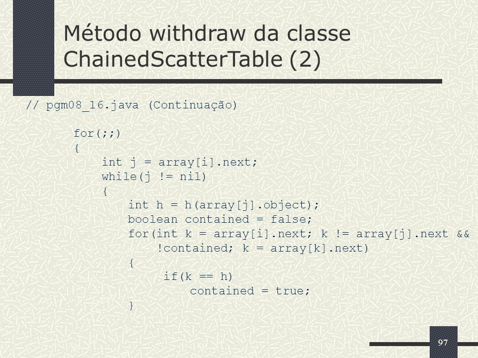 Método withdraw da classe ChainedScatterTable (2)