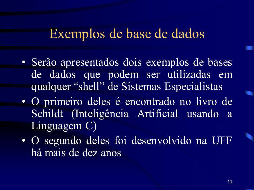 Exemplos de base de dados