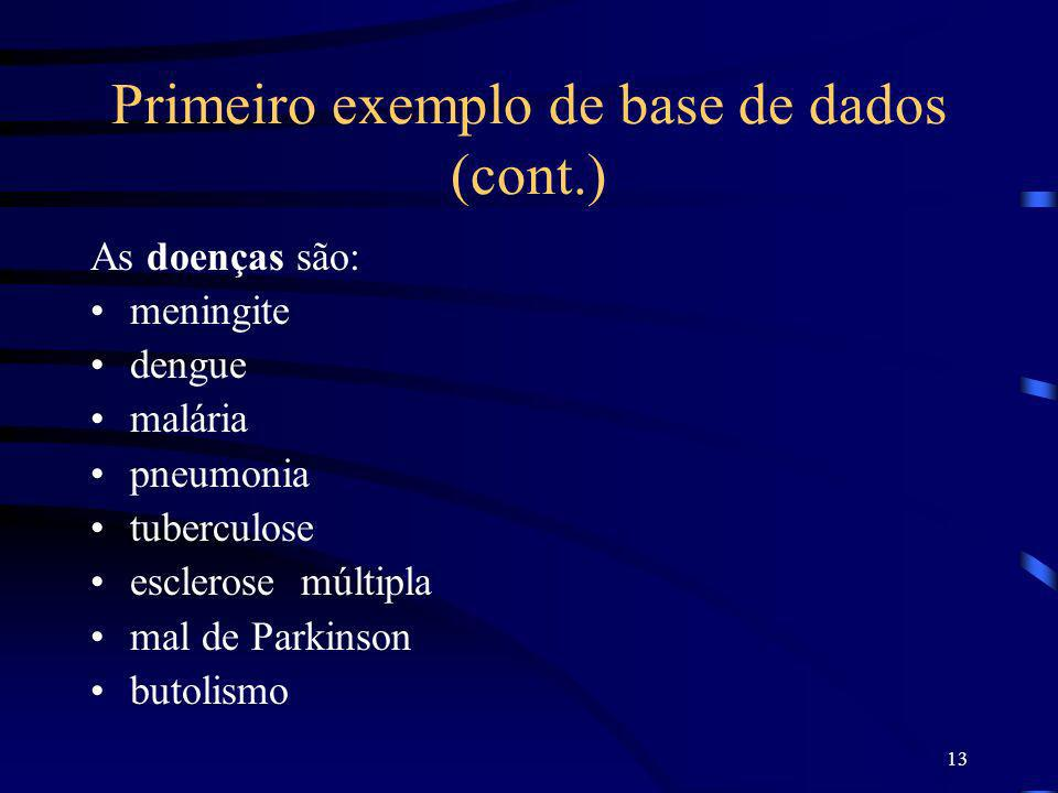 Primeiro exemplo de base de dados (cont.)