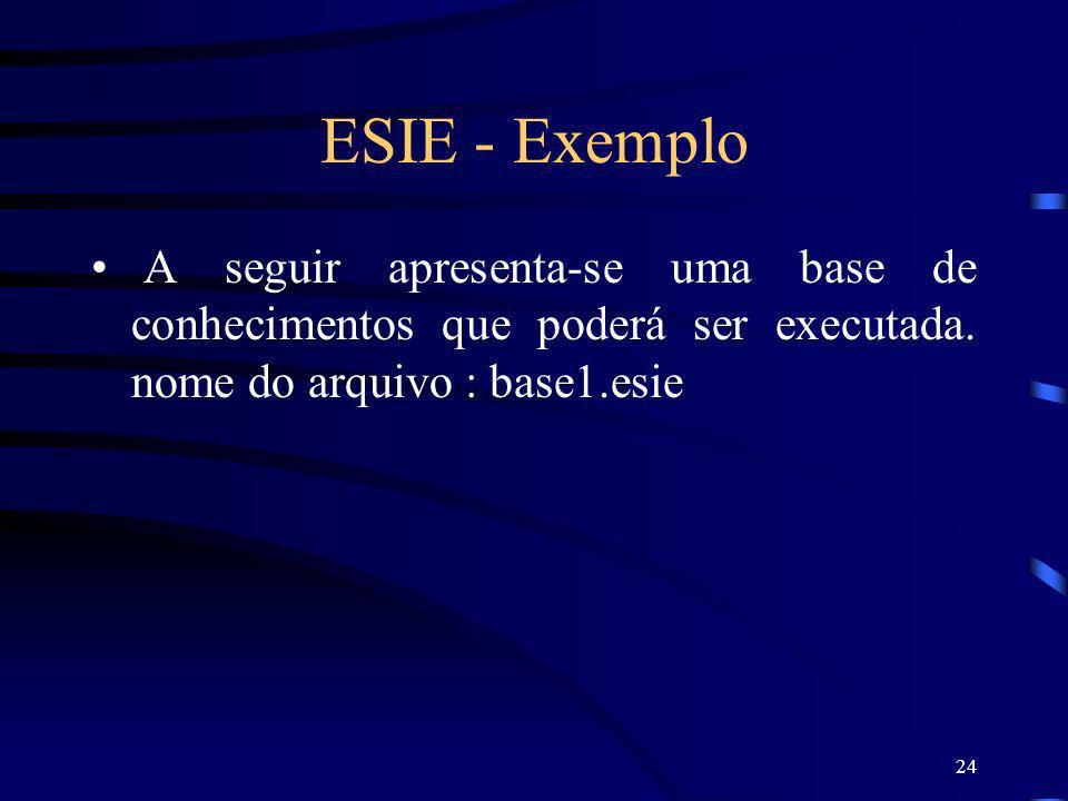ESIE - Exemplo A seguir apresenta-se uma base de conhecimentos que poderá ser executada.