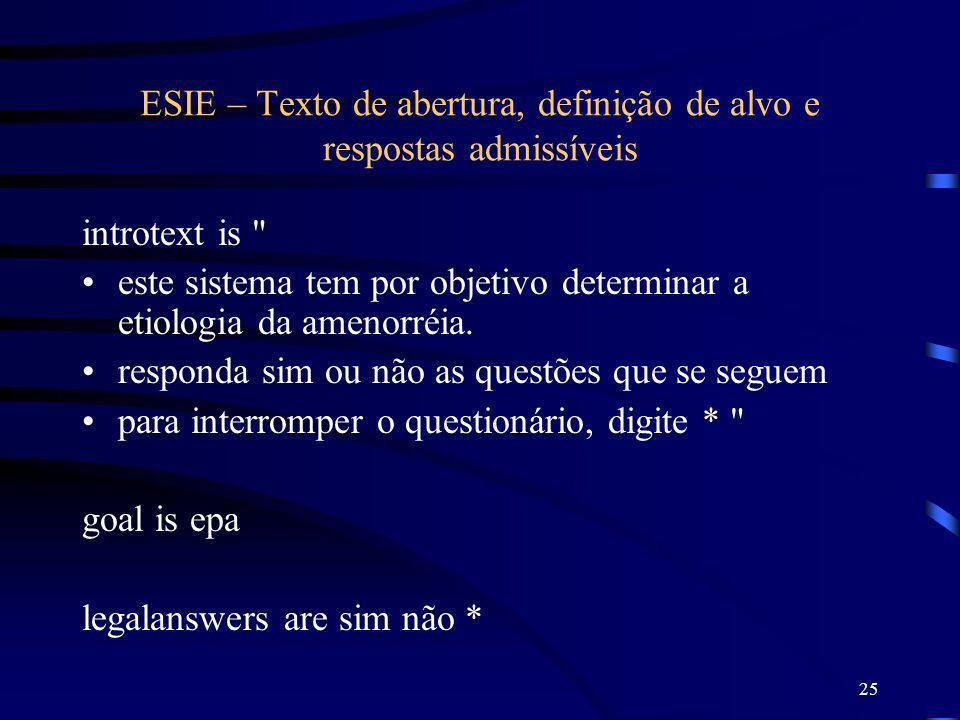 ESIE – Texto de abertura, definição de alvo e respostas admissíveis